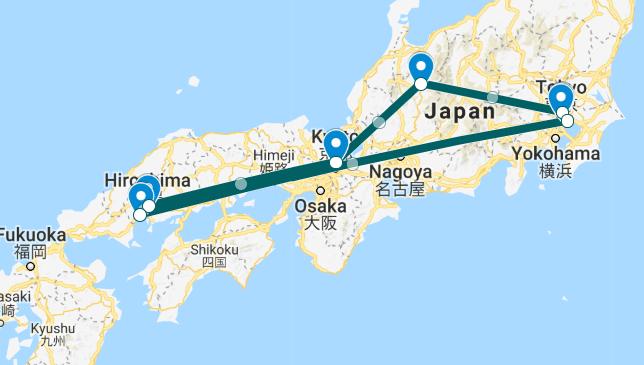 תכנית טיול מטוקיו למזרח וחזרה ל-14 ימים ו-13 לילות